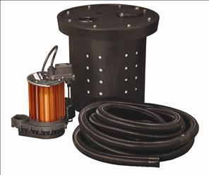 Crawl Space Sump Kit, 1/3 HP, w/ Basin, Hose Kit & Cover